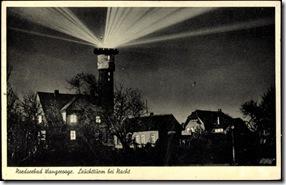 Postkarte Leuchtturm bei Nacht Wooge