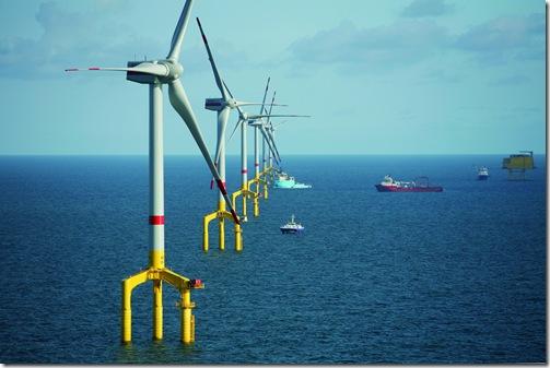 BARD Offshore 1, Projektgebiet, Flug mit Wiking-Helicopter, 9 WEAs errichtet, 7 davon komplett. (13. September 2o1o)
