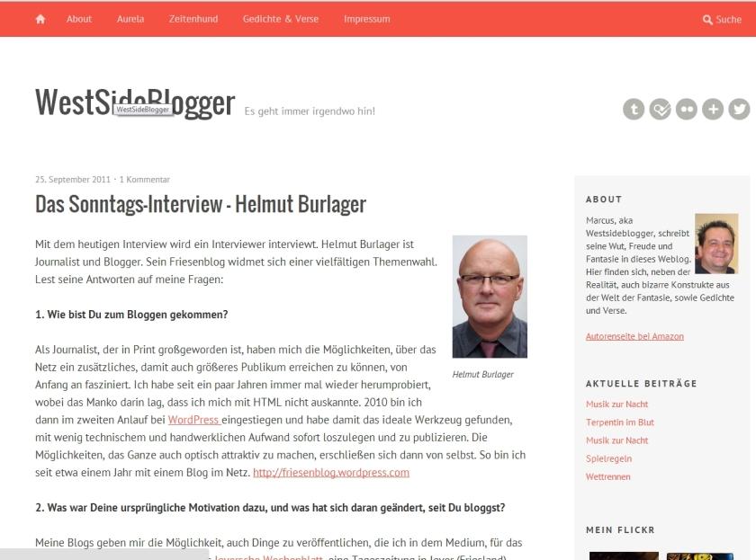 Das Interview beim Westsideblogger. Durch Anklicken des Bildes geht's zum Originaltext.