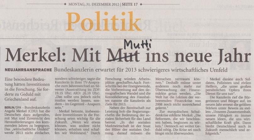 Jeversches Wochenblatt, 31. Dezember 2012