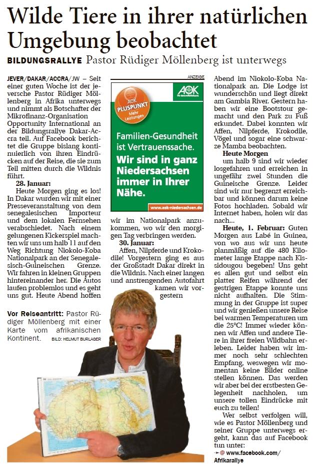 Bericht im Jeverschen Wochenblatt vom 2. Februar 2013. Zur besseren Lesbarkeit anklicken und ganze Seite öffnen.