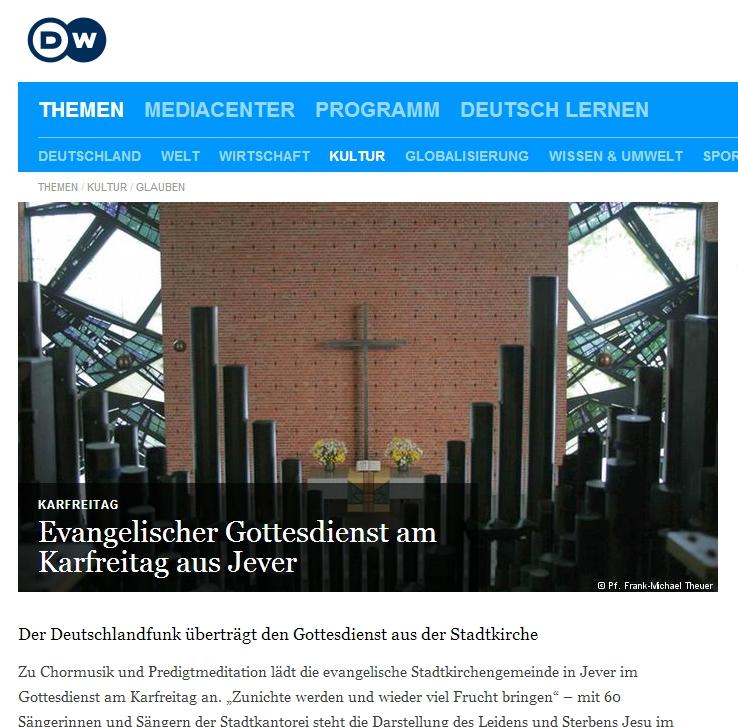 Karfreitagsgottesdienst aus der Stadtkirche Jever. Zum Öffnen des Links draufklicken.