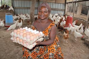 Kreditnehmerin Celina Yelpoe hat mit Mikrokrediten in Ghana eine Hühnerfarm aufgebaut. Foto: OID