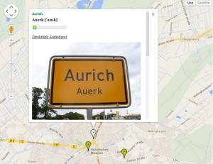 """Die """"Plattdüütsche Landkoort"""" stellt Orte vor, die sich für zweisprachige Ortsbeschilderung entschieden haben, so wie Auerk, die ostfriesische Hauptstadt.  Screenshot: INS"""