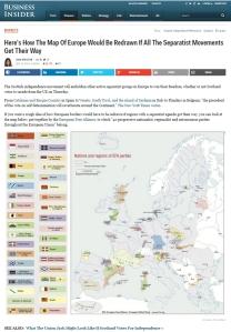 Die Landkarte der Separatistenbewegungen in Europa. Friesland ist dabei.