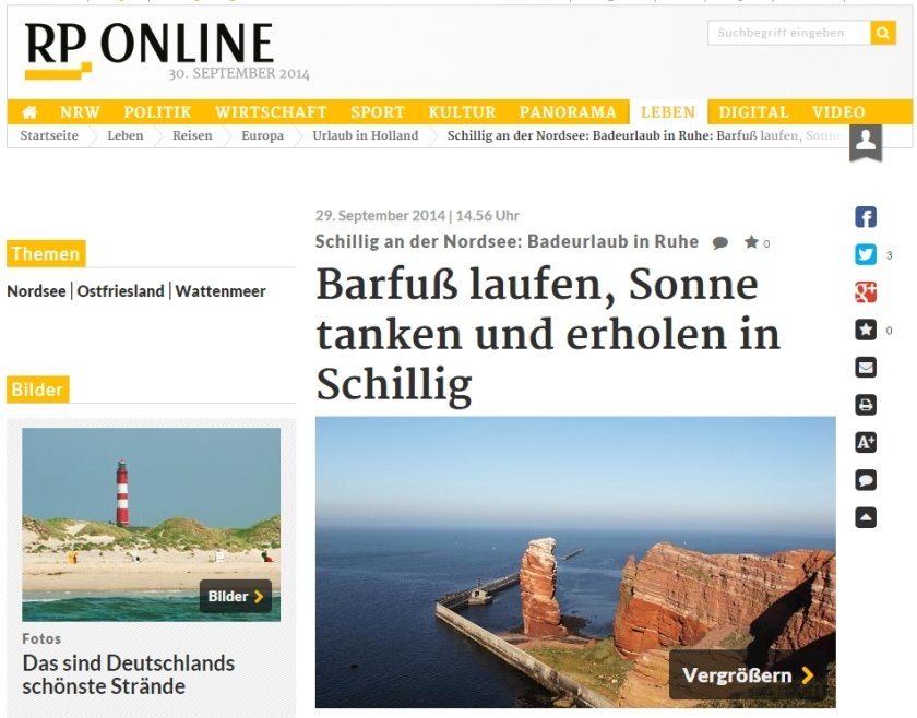 Die Lange Anna am Strand von Schillig, ein Muss für jeden Nordseeurlauber. Screenshot von RP-online.
