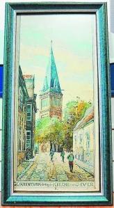 Dieses Aquarell vom Glockenturm in Jever wird versteigert. Der Erlös fließt in die Sanierung des historischen Gebäudes. Foto: Cornelia Lüers